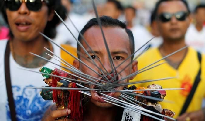 Festival végétarien en Thaïlande